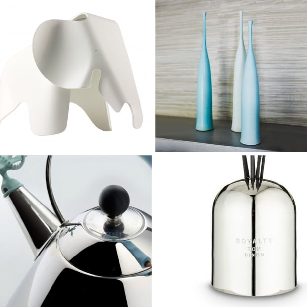 Eames® Elephant, Alessi Graves Kettle, Tom Dixon Royalty Diffuser